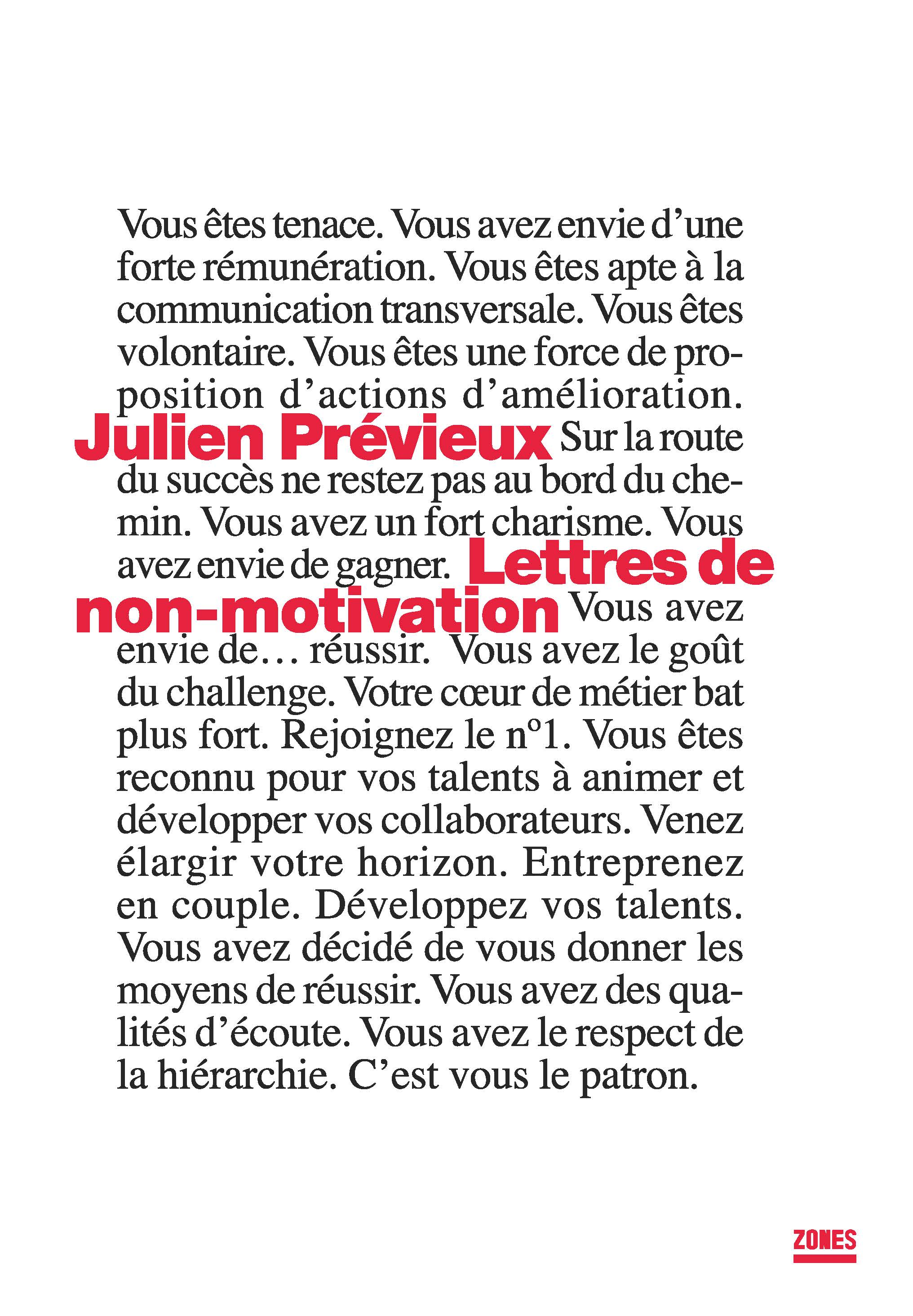 Lettres De Non Motivation Editions Zones